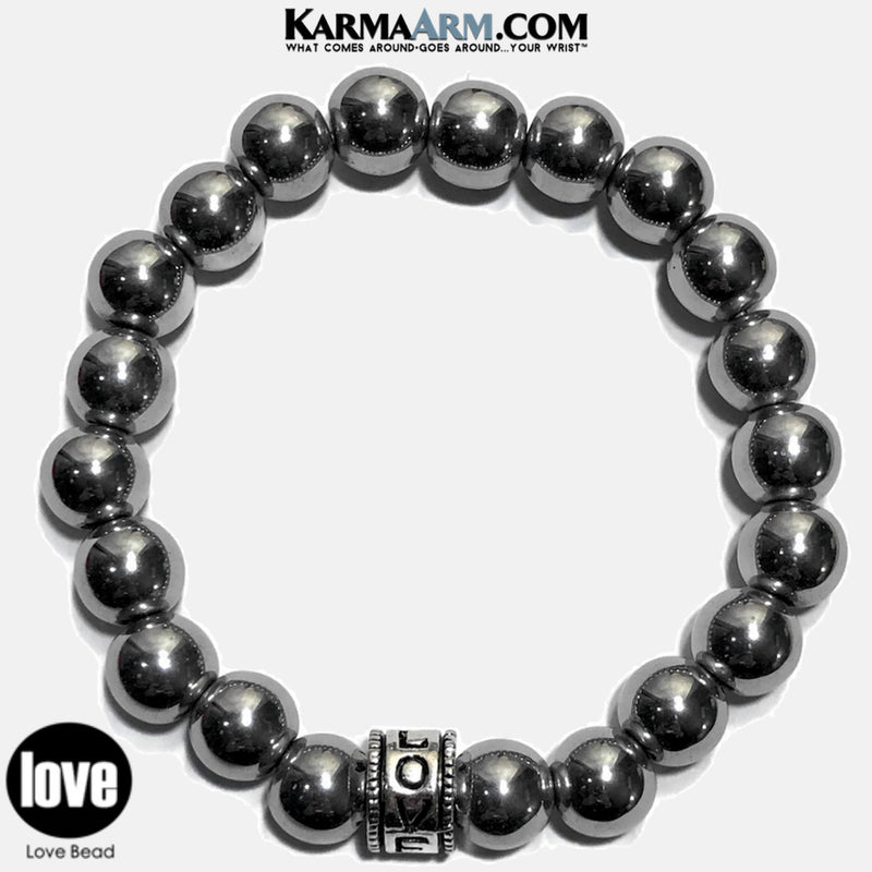 Yoga Bracelets. Love Jewelry. Meditation Zen Beaded Bracelet. Silver Hematite. copy