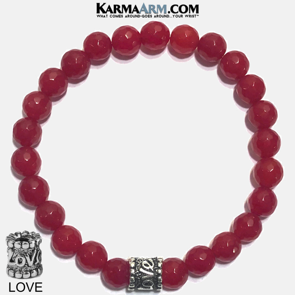 Yoga Bracelets. Love beaded mens meditation wristband jewelry. Red Jade.