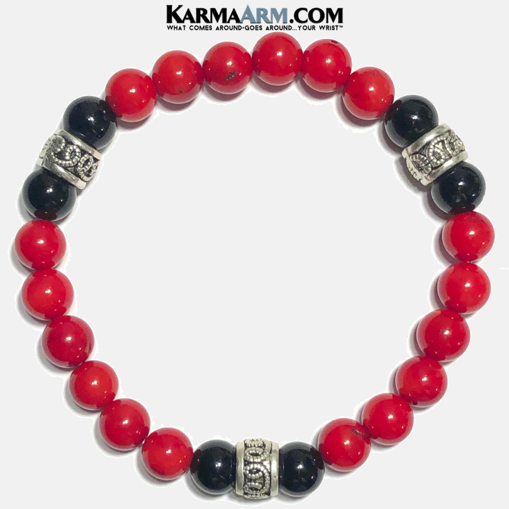 Mens Yoga Bracelets. Meditation Self-Care Wellness Wristband Zen Jewelry. Red Coral black onyx mala.