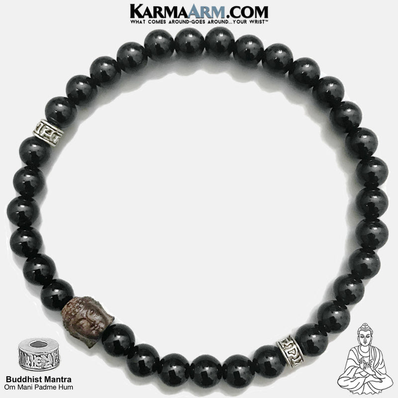 Yoga Bracelets. Om Mani Padme Hum Jewelry. Meditation Zen Beaded Bracelet. Carved Buddha Black Onyx.