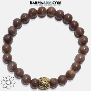 Yoga Bracelets. beaded mens meditation wristband jewelry. Purple Aventurine. Gold Leaf.