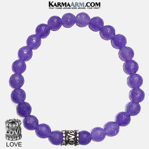 Love Yoga Bracelets. self-care wellness beaded mens meditation wristband jewelry. love purple jade.