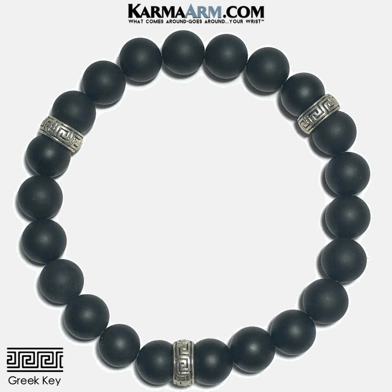Yoga Love Bracelet Wristband. beaded mens meditation wristband jewelry. Greek Key Onyx.