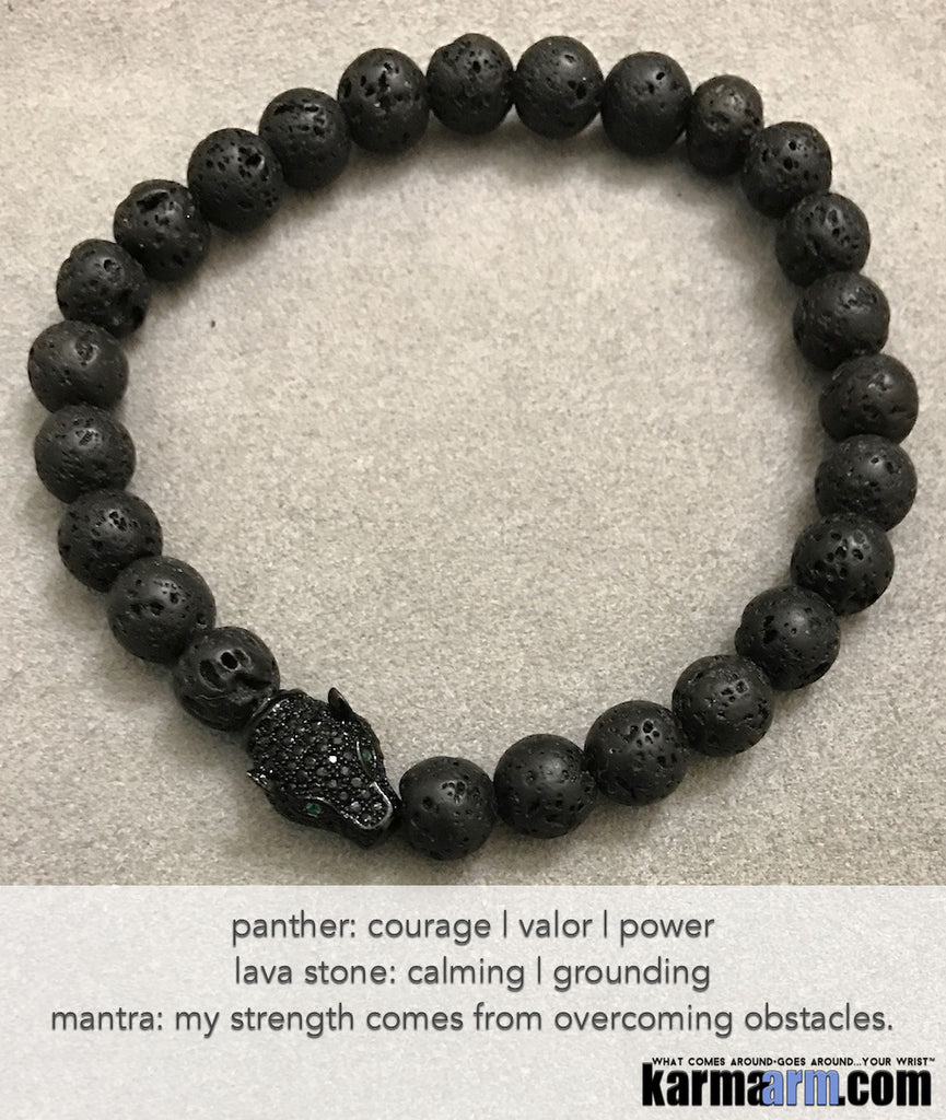Yoga Beaded Bracelets. Black Lava Panther Pave. Men's Women. Law of Attraction. LOA. Healing Energy Prayer Mantra Spiritual Mala.