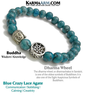 Yoga Beaded Bracelets. Dharma Wheel. Mens Jewelry. BoHo Jewelry. Reiki Healing Bracelets. Meditation Jewelry.  Blue Crazy Lace Agate.