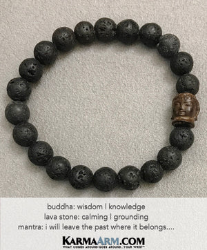 Yoga Beaded Bracelets. Men's Women. Healing Energy Prayer Mantra Spiritual Mala. Black Lava Buddha.