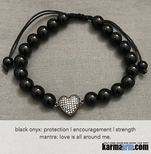 Yoga Beaded Bracelets. Men's Women. Healing Energy Prayer Mantra Spiritual Mala. Black Onyx Pave Diamond CZ heart.