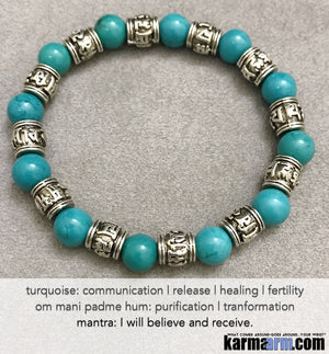 Yoga Beaded Bracelets. Men's Women. Luxury Handmade Jewelry. Law of Attraction. LOA. Healing Energy Prayer Mantra Spiritual Mala.  Blue Turquoise Om Mani Padme Hum.