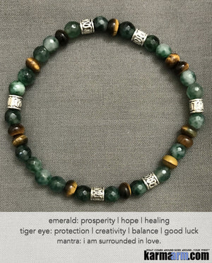 Yoga Beaded Bracelets. Men's Women. Luxury Handmade Jewelry. Law of Attraction. LOA. Healing Energy Prayer Mantra Spiritual Mala. Emerald Tiger Eye.