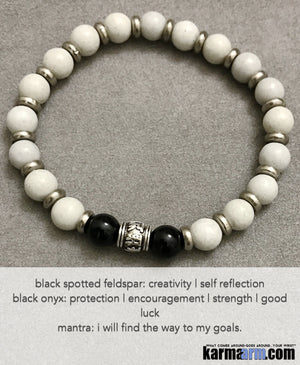 Yoga Beaded Bracelets. Men's Women. Luxury Handmade Jewelry. Law of Attraction. LOA. Healing Energy Prayer Mantra Spiritual Mala. Om Mantra Black Onyx Feldspar.