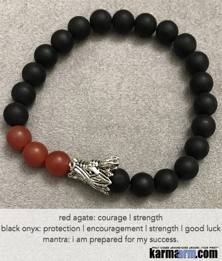 Yoga Beaded Bracelets. Men's Women.  Luxury Handmade Jewelry. Law of Attraction. LOA. Healing Energy Prayer Mantra Spiritual Mala. Red Agate Black Onyx Dragon.