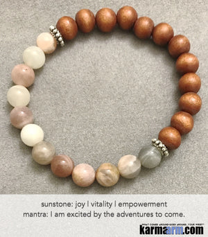 Yoga Beaded Bracelets. Men's Women. Luxury Handmade Jewelry. Law of Attraction. LOA. Healing Energy Prayer Mantra Spiritual Mala.  Sunstone Sandalwood.