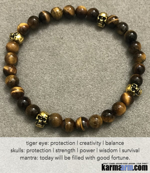 Yoga Beaded Bracelets. Men's Women. Luxury Handmade Jewelry. Law of Attraction. LOA. Healing Energy Prayer Mantra Spiritual Mala. Tigers Eye Gold Skulls.