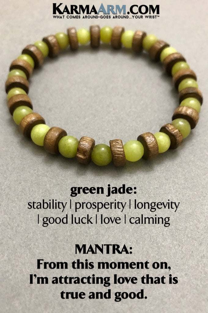 Yoga Beaded Bracelets. Mens jewelry. Green Jade. Meditation Chakra Jewelry. Reiki Healing Bracelet.