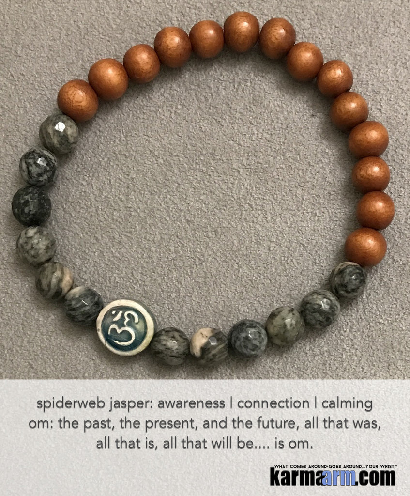 Yoga Beaded Bracelets. Raku PM Spiderweb Jasper . Men's Women. Law of Attraction. LOA. Healing Energy Prayer Mantra Spiritual Mala.