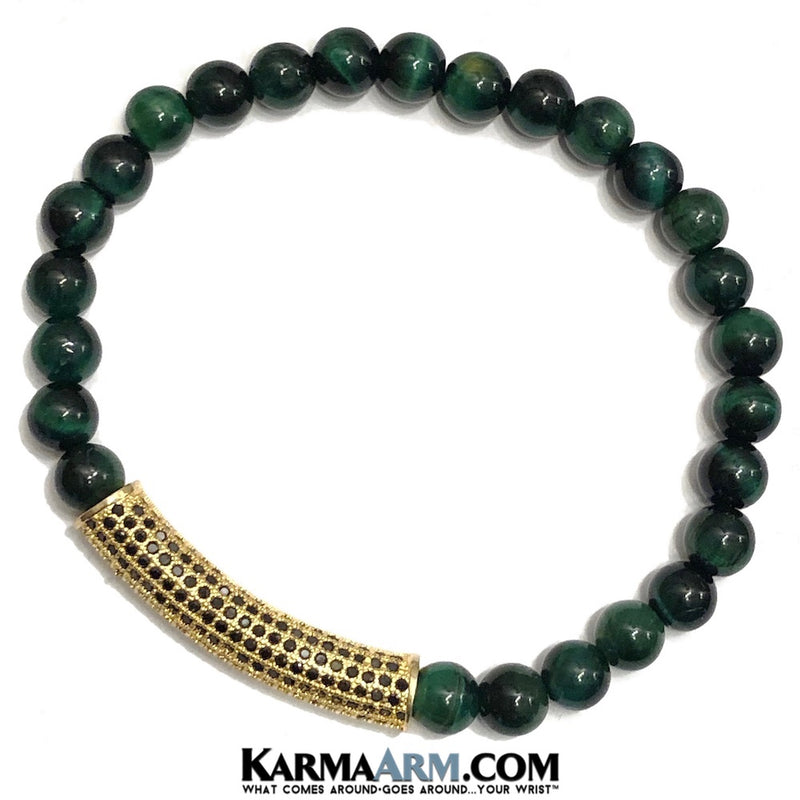 Yoga Beaded Bracelets. Stretch Bracelets. Mens Bracelets. Reiki Healing Energy Chakra Bracelets.  Green Tigers Eye. CZ Diamond Pave Bracelets.