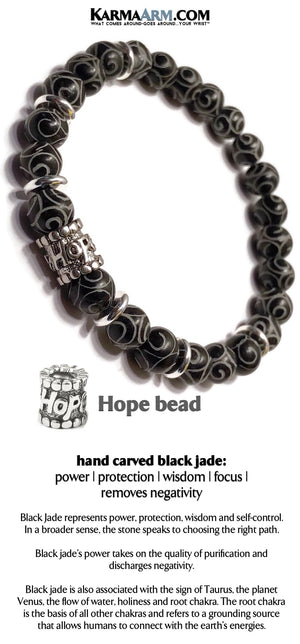 Beaded Bracelets. HOPE Spiritual Stretch Bracelets. Reiki Healing Energy Chakra Jewelry. Carved Black Jade Gifts.