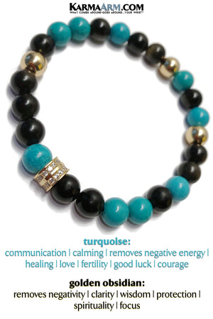 Mens Bracelet. Meditation Jewelry. Golden Obsidian Turquoise.
