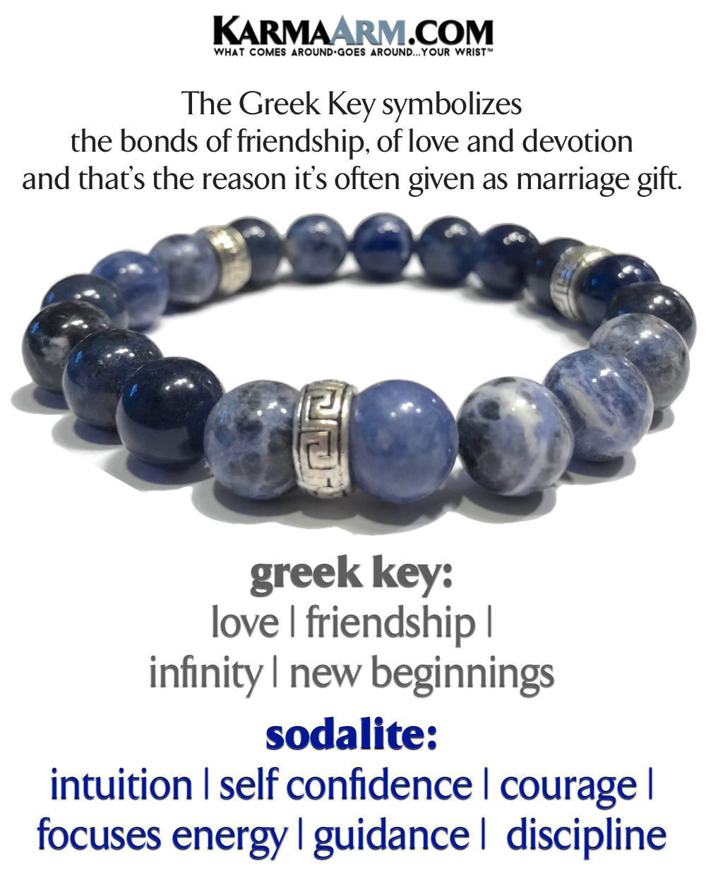 Yoga Beaded Mens Stretch Bracelets.  Meditation Jewelry. Reiki Healing Energy Chakra Bracelets. Greek Key Sodalite.