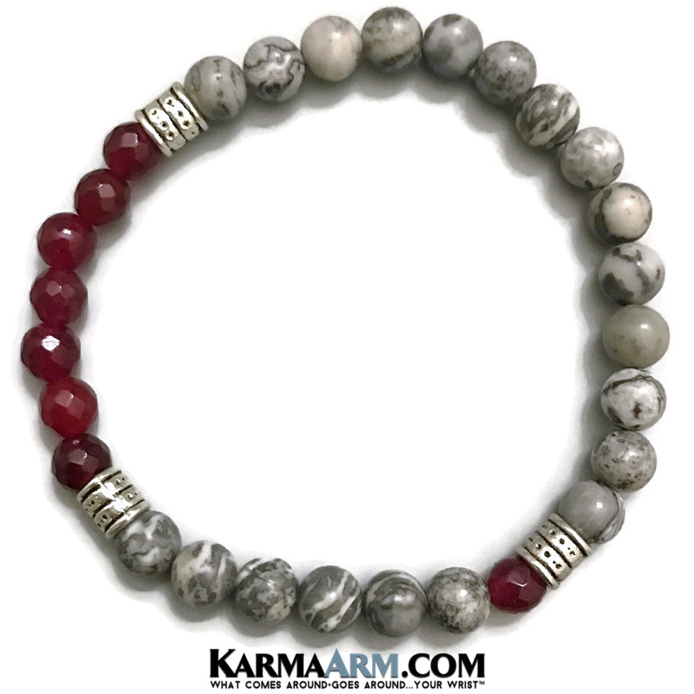Yoga Beaded Stretch Bracelets. Mens Jewelry. Reiki Healing Energy Chakra Bracelets. Ruby Silver Crazy Lace Agate.