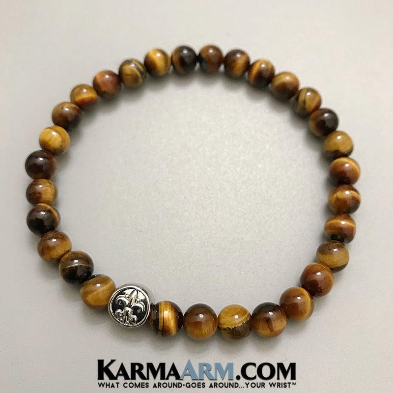 Yoga Beaded Bracelets. Meditation Reiki Healing Jewelry. Mens bracelets. Fleur de lis Tigers Eye.