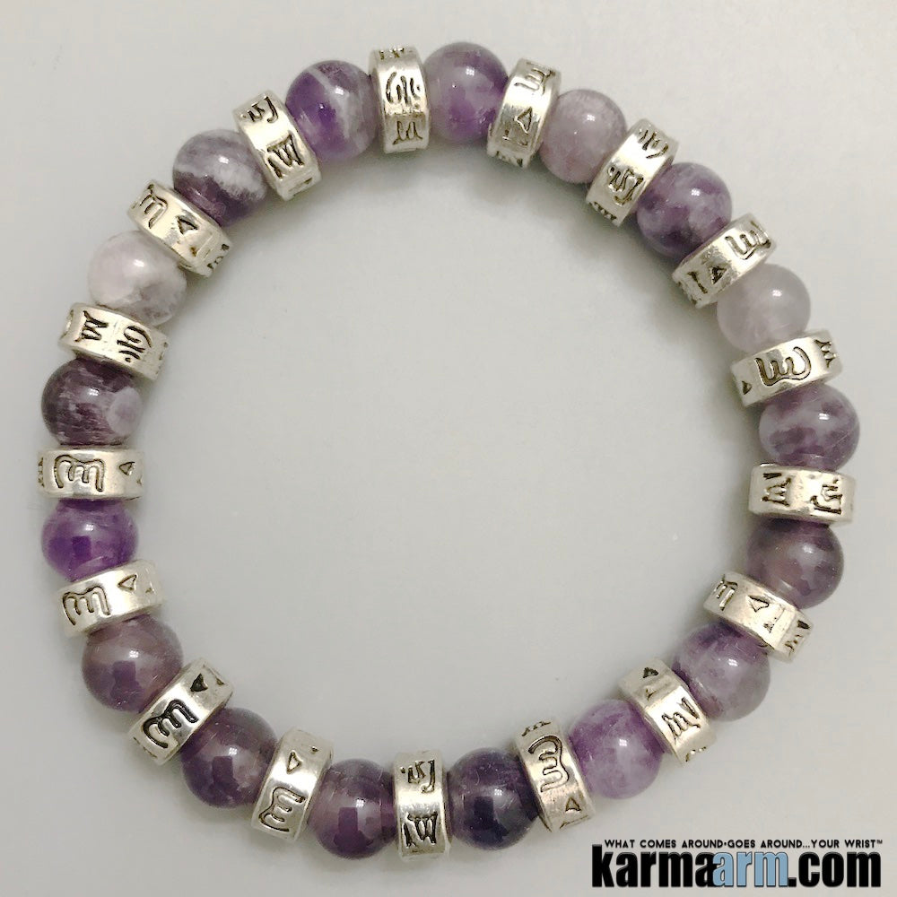 Yoga Bracelet. Chakra Mantra Beaded Stretch Jewelry. Handmade Reiki Meditation. Amethyst OM Mantra.