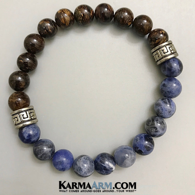 Greek Key yoga beaded bracelet. Chakra reiki healing energy mantra meditation jewelry. Sodalite Bronzite Mens Bracelet.