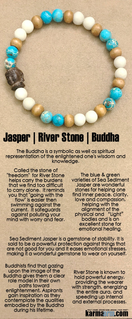 Yoga Bracelet. Beaded Chakra Jewelry. Energy Healing Meditation. River Stone Jasper Buddha.