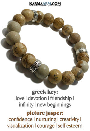 Yoga Bracelet. Meditation Self-Care Wellness Wristband Zen bead mala Jewelry.  Greek Key Picture Jasper. copy 2