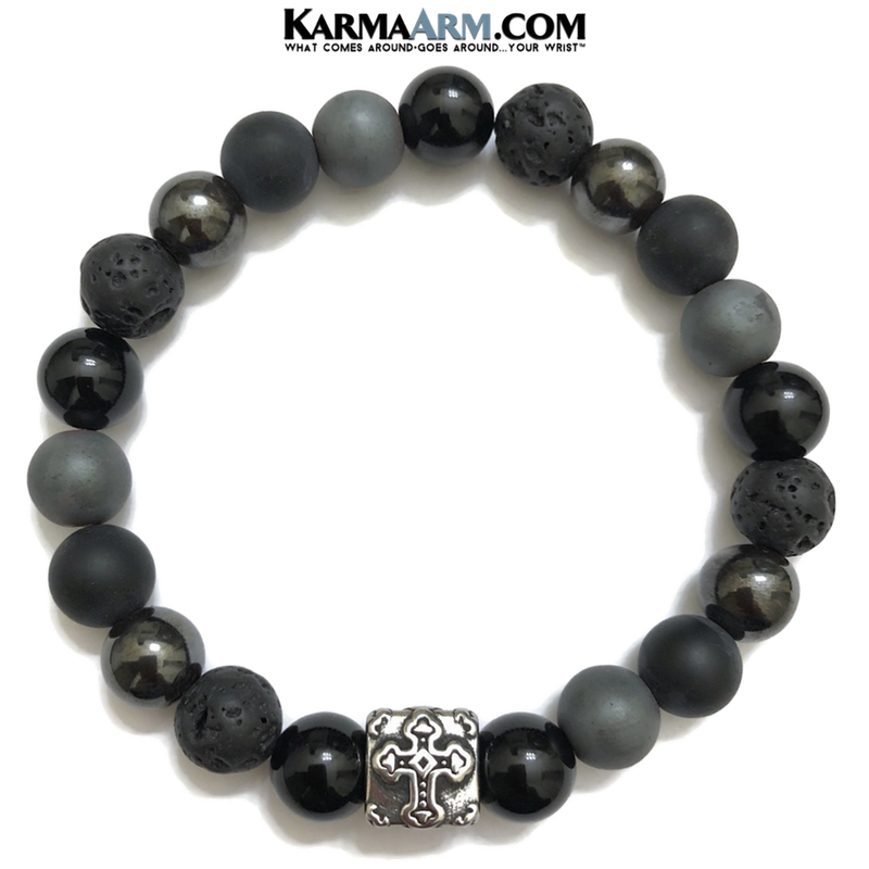 Yoga Bracelet. Meditation Self-Care Wellness Wristband Zen bead mala Jewelry.  Lava Onyx Hematite Cross.