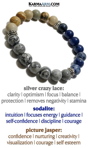 Yoga Bracelet. Meditation Self-Care Wellness Wristband Zen bead mala Jewelry. Sodalite crazy Agate Picture Jasper.
