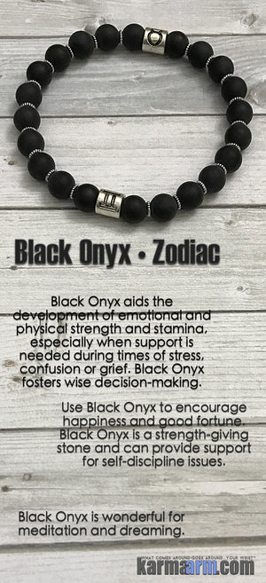 Yoga Bracelet. Mens & Womens Meditation Bead Mala. Black Onyx Zodiac Hororscope birthstone.