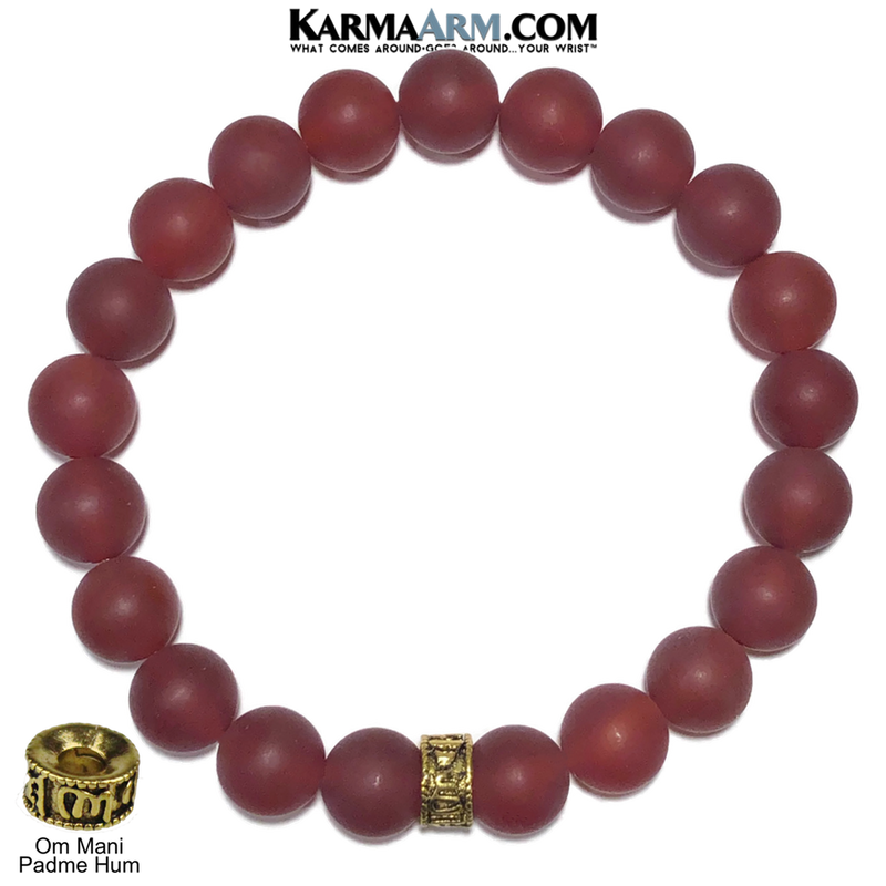 Yoga bracelets. Meditation self-care wellness mens bead wristband jewelry. Om Mani Padme Hum. 10mm Red Agate.   copy 2