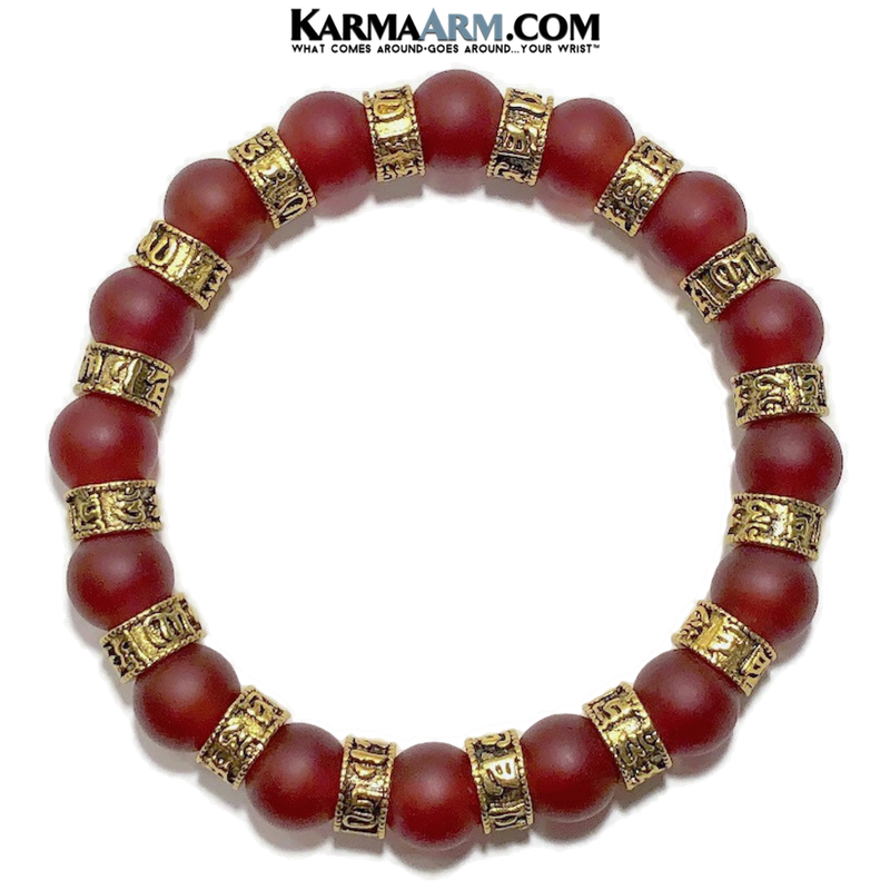 Om Mani Padme Hum. Meditation self-care wellness mens bead wristband jewelry. Yoga bracelets. 10mm Red Agate.