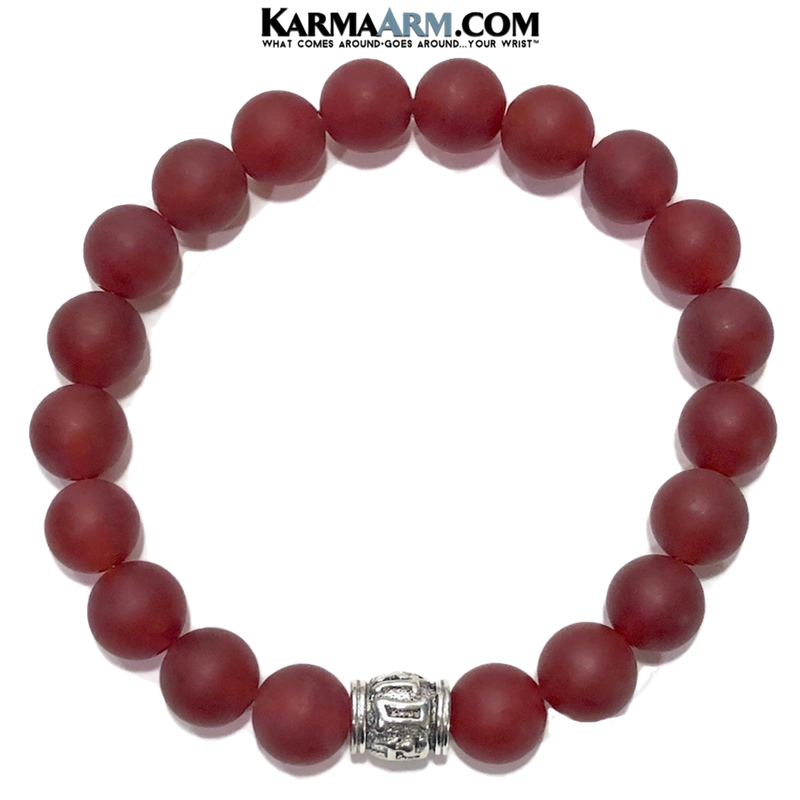 Om Mani Padme Hum. Meditation self-care wellness mens bead wristband jewelry. Yoga bracelets. 10mm Red Agate. copy