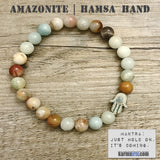 Yoga Bracelets Jewelry Amazonite.  Beaded Law of Attraction Meditation  Mala. & Mantra