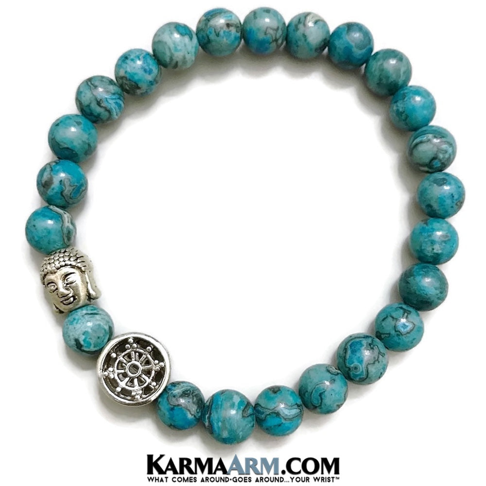 Yoga Beaded Bracelets. Dharma Wheel Mens Jewelry. BoHo Jewelry. Reiki Healing Bracelets. Meditation Jewelry. Blue Crazy Lace Agate.