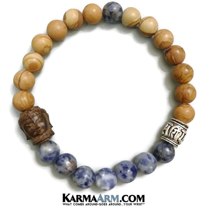 Yoga Bracelets. Mens Womens. Manifestation Beaded Prayer Mantra Spiritual Mala. Law of Attraction. #LOA Energy Healing. Blue Spot Jasper Buddha. Om Mantra.