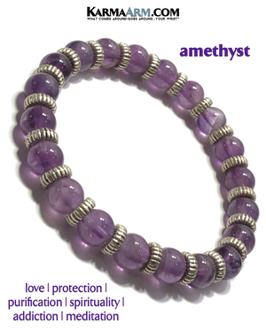 Yoga Bracelets. Amethyst Jewelry. Silver Ribbed Rondelle Meditation Bracelet. Yoga Bracelets. Amethyst Jewelry. Silver Ribbed Rondelle Meditation Bracelet.