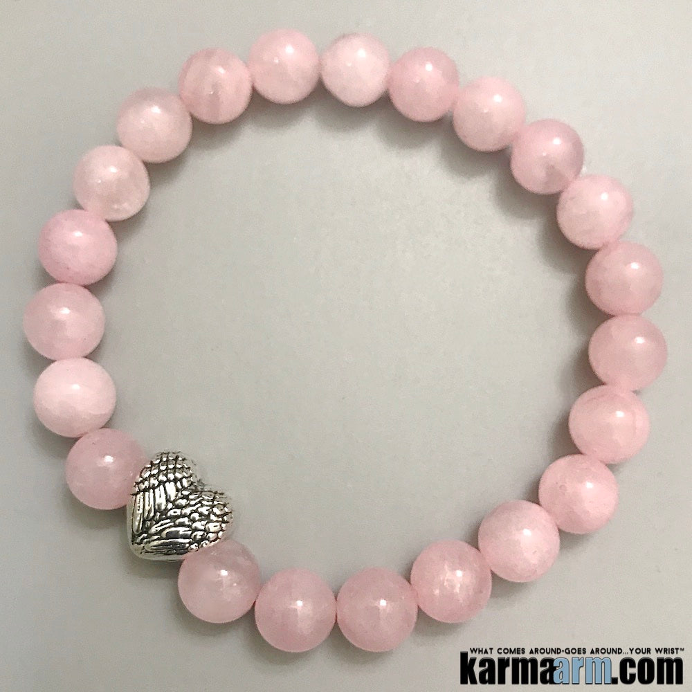 Yoga Bracelets. Angel Wings Heart Rose Quartz. Gifts Love Stretch Chakra Mala. Mens Jewelry.
