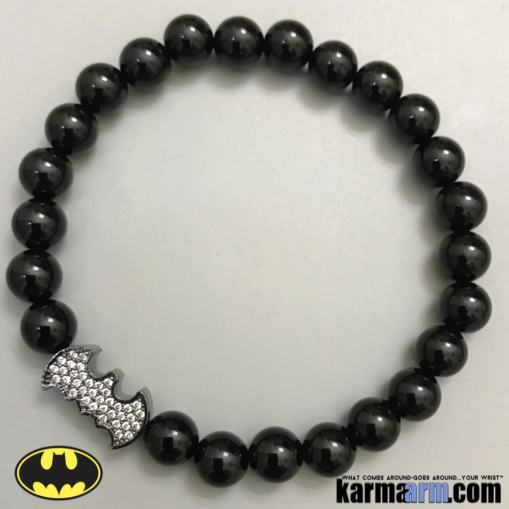 Batman Beaded Bracelets. Yoga Luxury Jewelry. Modern CZ Diamond Stacks.