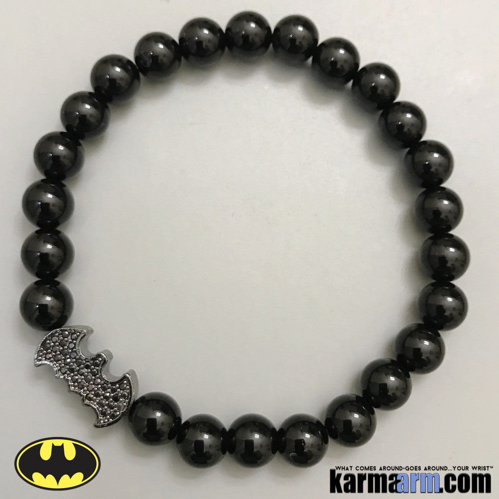 Yoga Bracelets. Batman. Bat Signal. Superhero. DC Comics Marvel. Handmade Luxury.  Mens & Women's Law of Attraction. Energy Healing. Beaded Mala. Tibetan Buddhist. #LOA. Black Onyx. Pave.