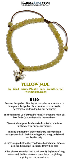 Yoga Bracelets. Beaded Bracelets. BoHo Jewelry.  Mens Bracelets. Reiki Healing Bracelets. Meditation Jewelry. Bee. Yellow Jade.