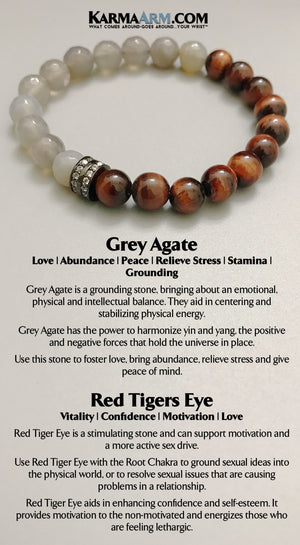 Yoga Bracelets. Beaded Bracelets. BoHo Jewelry.  Mens Bracelets. Reiki Healing Bracelets. Meditation Jewelry. Grey Agate Red Tigers Eye.