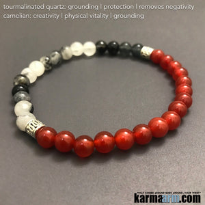 Yoga Bracelets. Beaded Chakra Jewelry. Energy Healing Meditation. Mala Stacks. Carnelian.