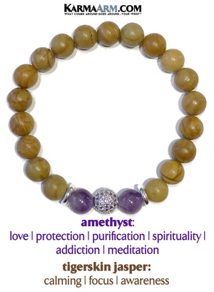 Yoga Bracelets. wellness self-care zen meditation amethyst mens wristband mala jewelry. diamond ball.