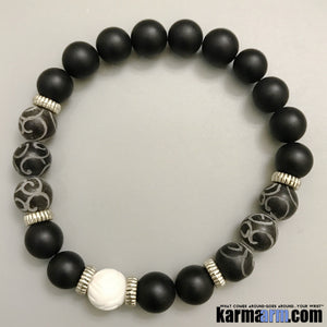 Yoga Bracelets. Black Jade Onyx Tridacna. Men's & Women's Law of Attraction. Energy Healing. Beaded Mala. Tibetan Buddhist. #LOA.