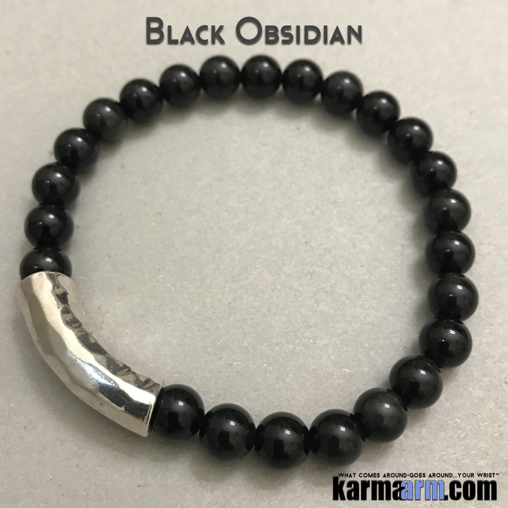 Yoga Beaded Bracelets. Black Obsidian.Men's Women. Law of Attraction. LOA. Healing Energy Prayer Mantra Spiritual Mala.