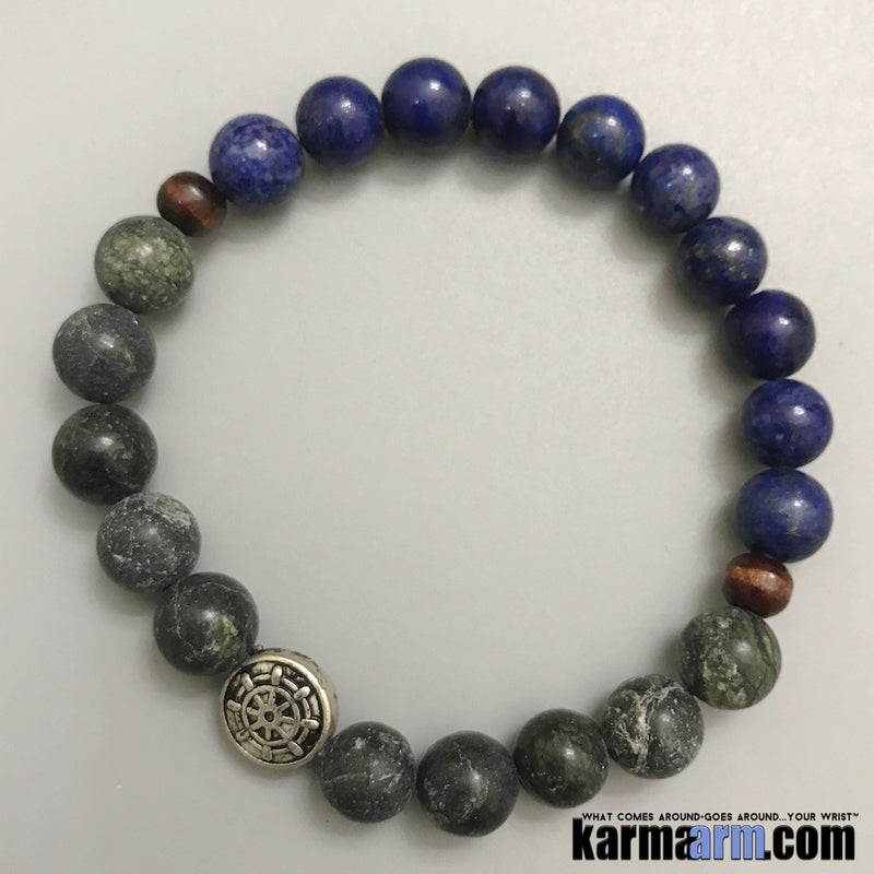Yoga Bracelets. Blue Lapis Serpentine. Handmade Luxury. Men's & Women's Law of Attraction. Energy Healing. Beaded Mala. Tibetan Buddhist. #LOA.