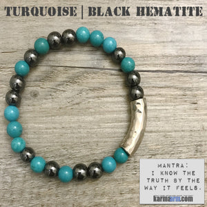 Yoga Bracelets. Blue Turquoise Black Hematite. Energy Healing | Handmade Men's & Women's Luxury Beaded Mala & Jewelry. Law of Attraction. manifest. #LOA.
